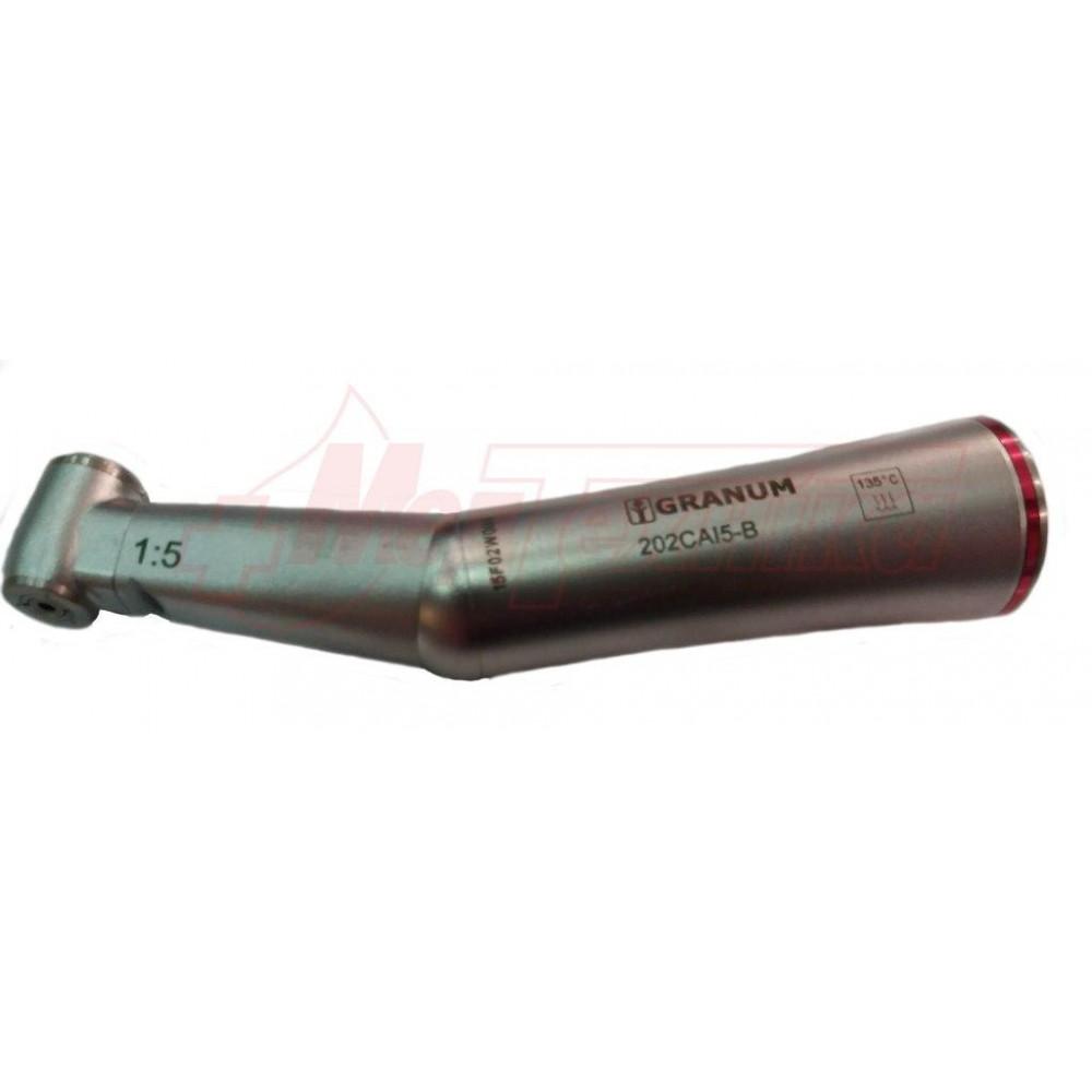 Угловой наконечник Granum LED 202CA I5-B повышающий (1:5, кнопка, внутренняя подача воды, со светом)